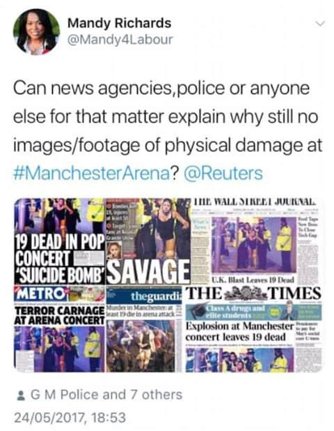 Ms Richards questioned whether there was a lack of evidence from the Manchester terror attack