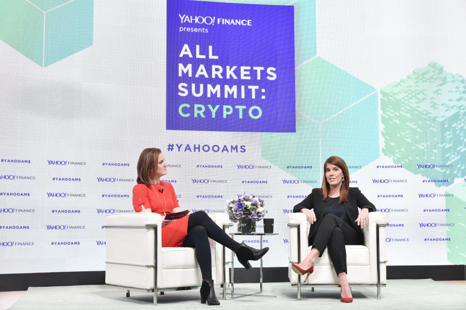 NEW YORK, NY - FEBRUARY 07:  Jen Rogers, and Elizabeth Rossiello attend the Yahoo Finance All Markets Summit: Crypto on February 7, 2018 in New York City.  (Photo by Eugene Gologursky/Getty Images for Yahoo Finance/Oath )
