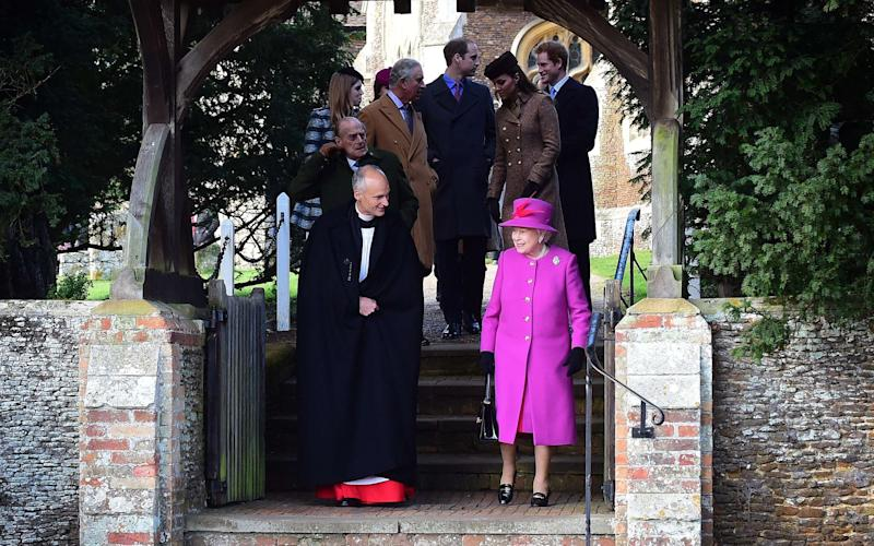 Queen Elizabeth II leaves after attending with other members of the royal family the traditional Christmas Day Church Service