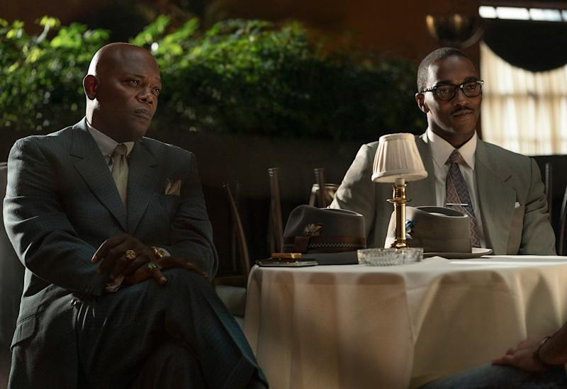 """Samuel L. Jackson and Anthony Mackie in """"The Banker"""" (Apple publicity photo)"""
