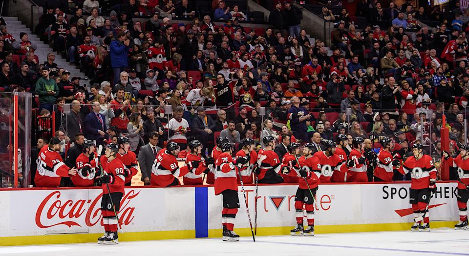 OTTAWA, ON - JANUARY 16: Ottawa Senators Left Wing Vladislav Namestnikov (90) celebrates a third period goal at the team bench during the NHL game between the Ottawa Senators and the Vegas Golden Knights on January 16, 2020 at the Canadian Tire Centre in Ottawa, Ontario, Canada. (Photo by Steven Kingsman/Icon Sportswire via Getty Images)