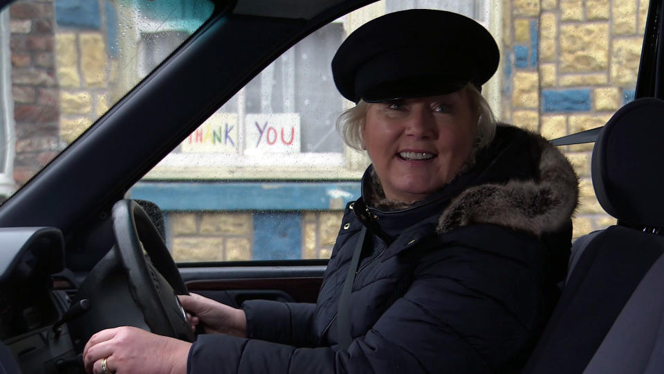 FROM ITV  STRICT EMBARGO - No Use Before Tuesday 16th February 2021  Coronation Street - Ep 10257  Wednesday 24th February 2021 - 1st Ep  Eileen Grimshaw [SUE CLEAVER] leaps in the hearse and assures George Shuttleworth [TONY MAUDSLEY] she knows what she's doing. But does she?    Picture contact David.crook@itv.com   This photograph is (C) ITV Plc and can only be reproduced for editorial purposes directly in connection with the programme or event mentioned above, or ITV plc. Once made available by ITV plc Picture Desk, this photograph can be reproduced once only up until the transmission [TX] date and no reproduction fee will be charged. Any subsequent usage may incur a fee. This photograph must not be manipulated [excluding basic cropping] in a manner which alters the visual appearance of the person photographed deemed detrimental or inappropriate by ITV plc Picture Desk. This photograph must not be syndicated to any other company, publication or website, or permanently archived, without the express written permission of ITV Picture Desk. Full Terms and conditions are available on  www.itv.com/presscentre/itvpictures/terms