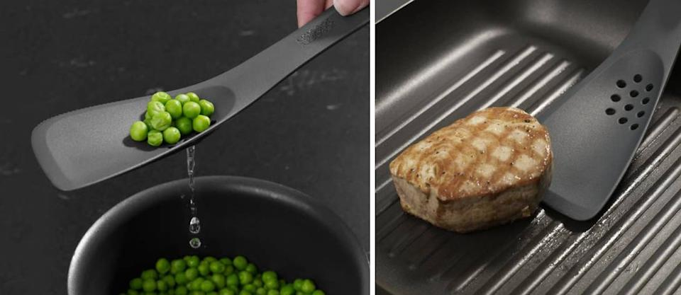 """This show-off gadget functions as a slotted spoon, a turner, a solid spoon, a spatula and a cutting tool, so you can go full MasterChef without having to swap out your utensil every five seconds.<br /><br /><strong>Promising review:</strong>""""I love this Uni-tool.<strong>I use it for sautéing veggies, scraping bowls, browning meats, tasting soup, testing macaroni for doneness, etc.</strong>I like that I can taste test with the spoon side and keep working with the other side. I randomly told my husband I wanted one for Christmas, and I am so glad I did. It's a useful kitchen gadget to have."""" —<a href=""""https://www.amazon.com/gp/customer-reviews/R6W5M9JI6H4IY?&linkCode=ll2&tag=huffpost-bfsyndication-20&linkId=1e6780995e08b47a2786cfe97aef831b&language=en_US&ref_=as_li_ss_tl"""" target=""""_blank"""" rel=""""noopener noreferrer"""">Lori Price</a><br /><br /><strong>Get it from Amazon for<a href=""""https://www.amazon.com/Joseph-UNITG0100SW-Uni-Tool-Utensil-Slotted/dp/B002STMD0Q?&linkCode=ll1&tag=huffpost-bfsyndication-20&linkId=bdd0aecadc07f2ef3f1173c0bc215dc6&language=en_US&ref_=as_li_ss_tl"""" target=""""_blank"""" rel=""""noopener noreferrer"""">$19.22</a>.</strong>"""