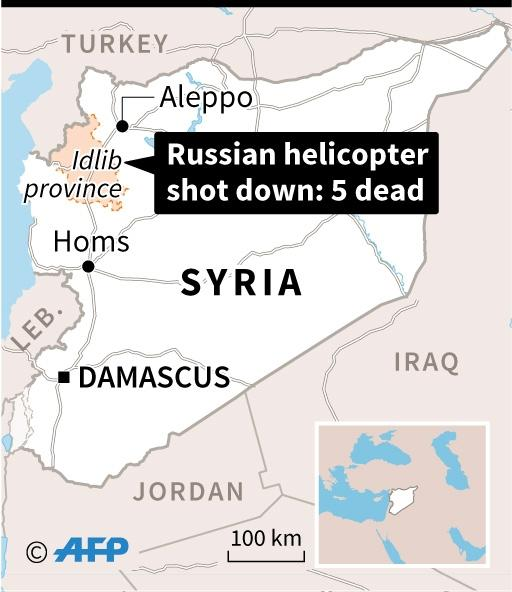 The Kremlin said the transport helicopter was shot down over the Syrian province of Idlib while delivering humanitarian aid to Aleppo (AFP Photo/Iris Royer De Vericourt)