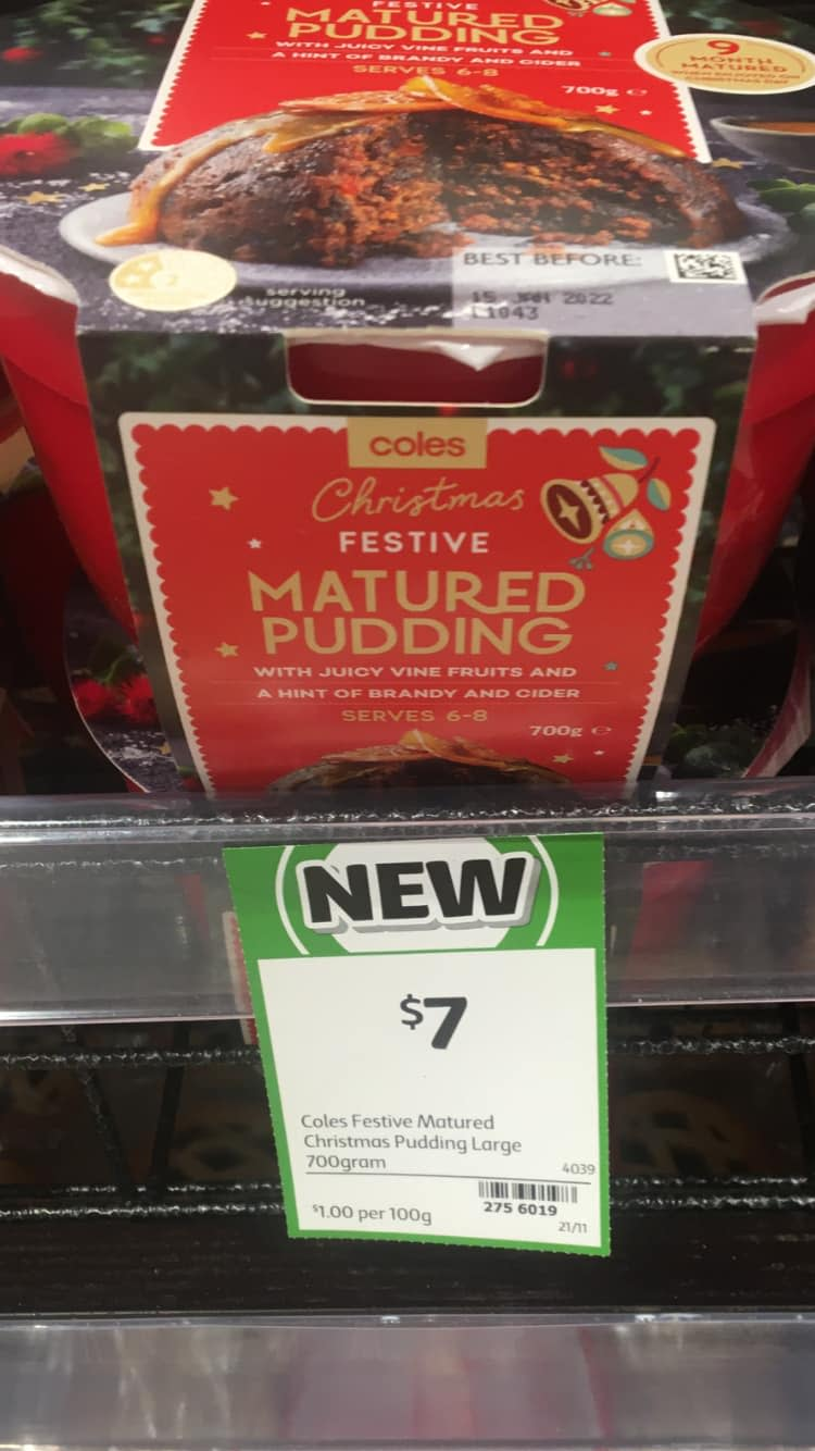 Christmas pudding advertised for $7 at Coles. Use by date is in 2022. Source: Facebook