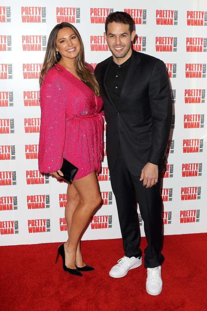 LONDON, UNITED KINGDOM - March 2, 2020 - Kelly Brook & Jeremy Parisi arrives at the press night for Pretty Woman the Musical at the Piccadilly Theatre London- PHOTOGRAPH BY Jamy / Barcroft Studios / Future Publishing (Photo credit should read Jamy/Barcroft Media via Getty Images)