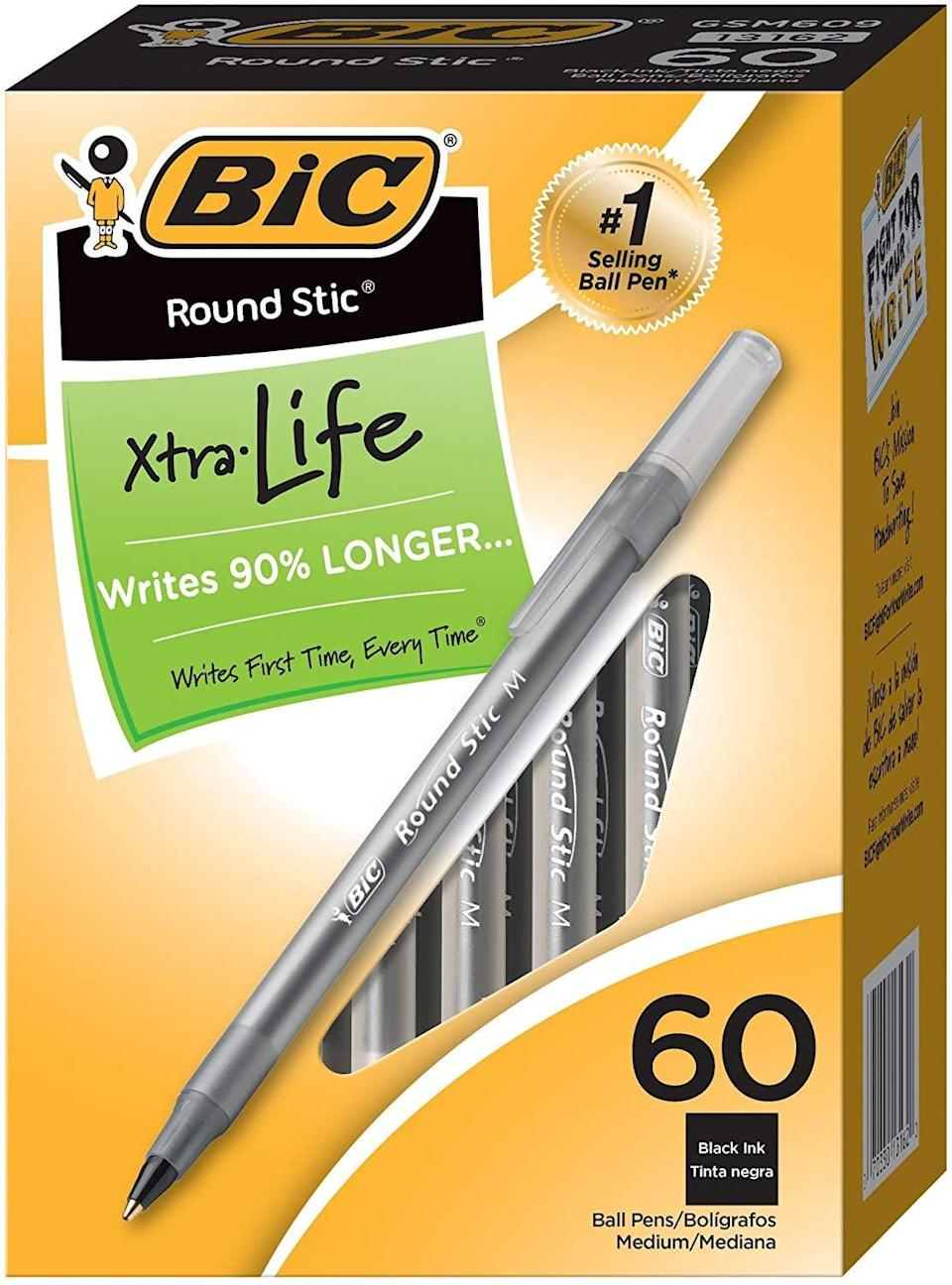 <p>If you're known for losing pens (us too), this <span>BIC Round Stic Xtra Life Ballpoint Pen</span> ($5, originally $13 for 60) is a game changer.</p>