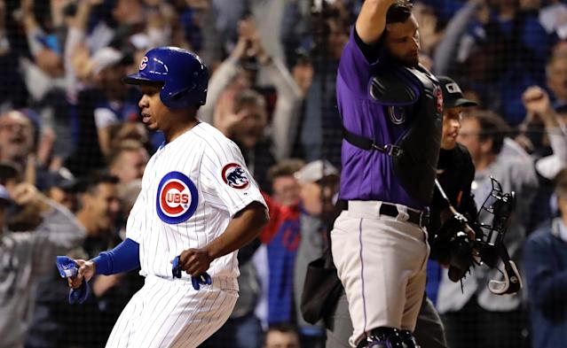 "Terrance Gore did his best acting job to earn first base and save the <a class=""link rapid-noclick-resp"" href=""/mlb/teams/chc"" data-ylk=""slk:Cubs"">Cubs</a>' season before video replay showed definitively that he was not hit by a pitch. (AP)"