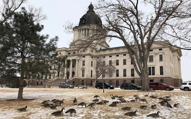 The South Dakota state capitol building is seen in Pierre, South Dakota, in 2018. (REUTERS/Lawrence Hurley/File Photo)