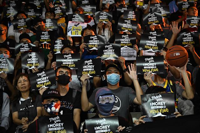 Protesters support Daryl Morey (Credit: Getty Images)