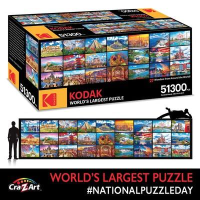 Cra-Z-Art Celebrates National Puzzle Day with the Kodak Branded World's Largest Puzzle Measuring 28.5' x 6.25' and Containing Over 51K Pieces!