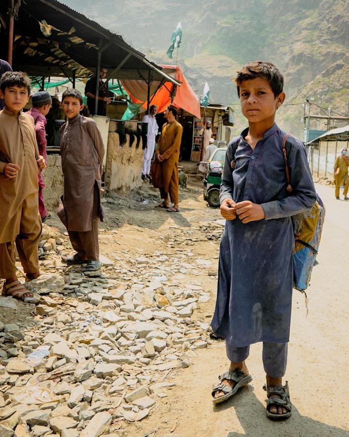 A child near the Torkham border crossing in Afghanistan on Sept. 8, 2021. (Ian Freeborn / for NBC News)