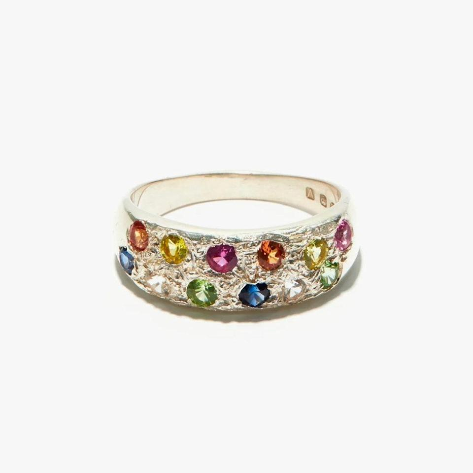 """$379, MATCHESFASHION.COM. <a href=""""https://www.matchesfashion.com/us/products/Bleue-Burnham-Riviera-sapphire-and-recycled-sterling-silver-ring-1393462"""" rel=""""nofollow noopener"""" target=""""_blank"""" data-ylk=""""slk:Get it now!"""" class=""""link rapid-noclick-resp"""">Get it now!</a>"""