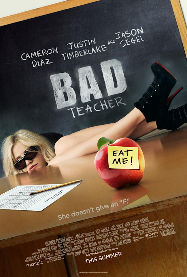"""The Worst:  <a href=""""http://movies.yahoo.com/summer-movies/bad-teacher/1810150690"""">BAD TEACHER</a>    This is a fairly awful Photoshop job all around, but the real kicker is the tasteless apple gag. We get it, you're really bad."""