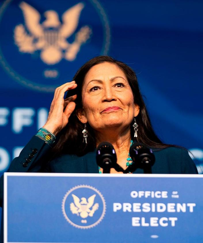 Congresswoman Deb Haaland delivers remarks after being introduced as US President-elect Joe Bidens nominee to be the next US Secretary of Interior at the Queen Theater on December 19, 2020 in Wilmington, Delaware. (Photo by Alex Edelman / AFP) (Photo by ALEX EDELMAN/AFP via Getty Images)