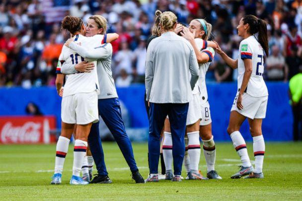 PHOTO: Unites States players celebrate their victory with United State's head coach Jillian Ellis during the 2019 FIFA Women's World Cup France Final match between United States and Netherlands at Groupama Stadium on July 7, 2019 in Lyon, France. (Baptiste Fernandez/Icon Sport via Getty Images)