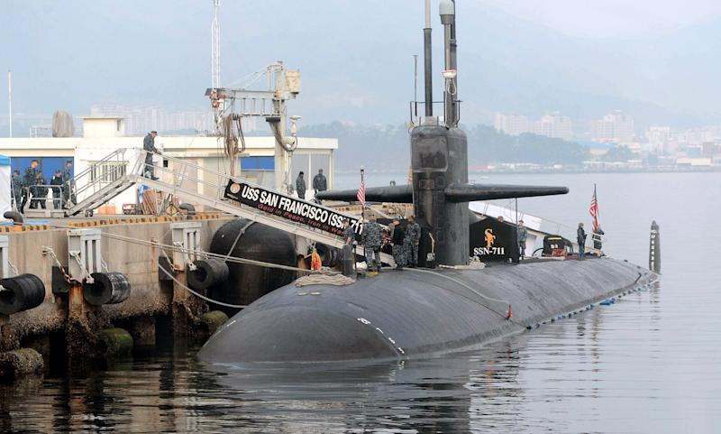 In this Friday, Feb. 1, 2013 photo, the USS San Francisco, a U.S. nuclear-powered submarine, is docked before South Korea and U.S. joint military exercises, at Jinhae naval base, South Korea. South Korean and U.S. troops began naval drills Monday, Feb. 4, 2013, in a show of force partly directed at North Korea amid signs that Pyongyang will soon carry out a threat to conduct its third atomic test. (AP Photo/Yonhap) KOREA OUT