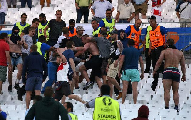 Russian football fans clash with England supporters at Stade Velodrome in Marseille in June 2016