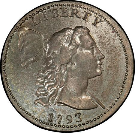 A 1793 Liberty Cap Cent coin which sold at auction for $940,000. Stack'sBowers Galleries/Handout via REUTERS