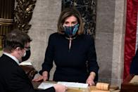 <p>Pelosi presided over the House of Representative's vote to impeach President Trump wearing the same exact suit and necklace that she wore on the first occasion of his impeachment. </p>