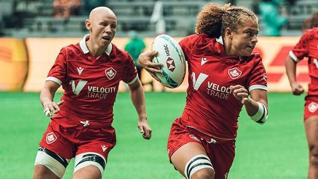 Renee Gonzalez, right, scored a pair of tries to help Canada to a 26-26 tie against the United States in women's rugby sevens action on Saturday in Edmonton. Olivia Apps, left, converted Sabrina Poulin's try that pulled the Canadians even. (Submitted by Jordan Leigh/Rugby Canada - image credit)