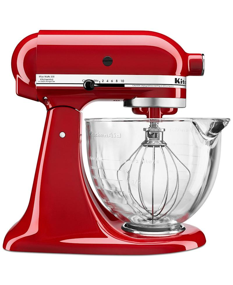 "Regularly: $349.99<br /><a href=""https://www.macys.com/shop/product/kitchenaid-ksm105gbc-5-qt.-stand-mixer-with-glass-bowl-flex-edge-beater?ID=2296121&CategoryID=7554&cm_kws=2296121&ranMID=3184&ranEAID=1EJqTwLQbuk&ranSiteID=1EJqTwLQbuk-eo2jOJV.ez.PbOJwUHU7pw&LinkshareID=1EJqTwLQbuk-eo2jOJV.ez.PbOJwUHU7pw&PartnerID=LINKSHARE&cm_mmc=LINKSHARE-_-5-_-63-_-MP563"" target=""_blank""><strong>Early Black Friday: $179.99</strong></a><br /><a href=""https://www.macys.com/shop/product/kitchenaid-ksm105gbc-5-qt.-stand-mixer-with-glass-bowl-flex-edge-beater?ID=2296121&CategoryID=7554&cm_kws=2296121&ranMID=3184&ranEAID=1EJqTwLQbuk&ranSiteID=1EJqTwLQbuk-eo2jOJV.ez.PbOJwUHU7pw&LinkshareID=1EJqTwLQbuk-eo2jOJV.ez.PbOJwUHU7pw&PartnerID=LINKSHARE&cm_mmc=LINKSHARE-_-5-_-63-_-MP563"" target=""_blank""><strong>After 1 p.m.: $249.99</strong></a><br />(Savings: $100 - $120)"