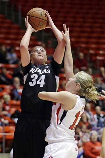 Colorado forward Jen Reese (34) shoots as Utah guard Rachel Messer, right, defends during the first half of an NCAA college basketball game, Sunday, Jan. 13, 2013, in Salt Lake City. (AP Photo/Rick Bowmer)