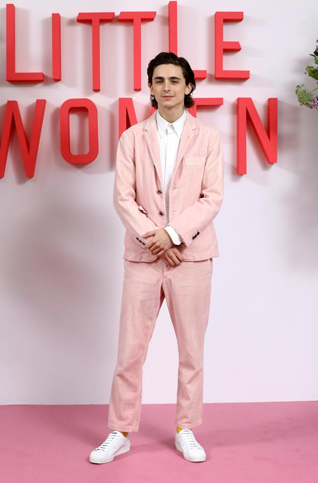 <p>WHAT: A Thom Browne suit and Prada x Adidas sneakers</p> <p>WHERE: A photocall for <em>Little Women</em> in London</p> <p>WHEN: December 16, 2019 </p> <p>WHY: Chalamet in a pink corduroy suit feels like the right way to round out the year in style.</p>