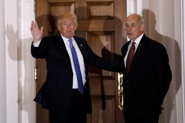 Donald Trump appears with John Kelly at Trump National Golf Club in Bedminster, N.J., after a meeting last month. (Photo: Mike Segar/Reuters)