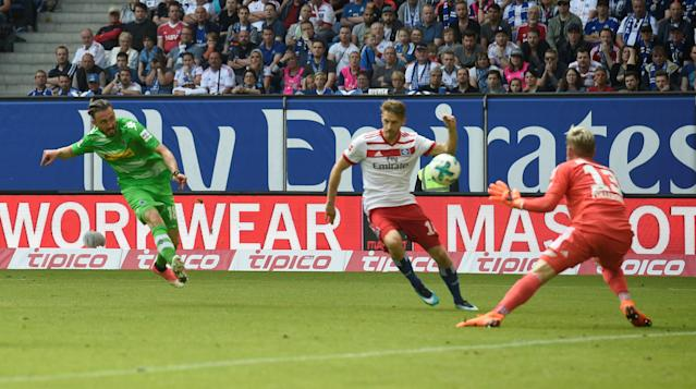 Soccer Football - Bundesliga - Hamburger SV v Borussia Moenchengladbach - Volksparkstadion, Hamburg, Germany - May 12, 2018 Borussia Monchengladbach's Josip Drmic scores their first goal REUTERS/Fabian Bimmer DFL RULES TO LIMIT THE ONLINE USAGE DURING MATCH TIME TO 15 PICTURES PER GAME. IMAGE SEQUENCES TO SIMULATE VIDEO IS NOT ALLOWED AT ANY TIME. FOR FURTHER QUERIES PLEASE CONTACT DFL DIRECTLY AT + 49 69 650050