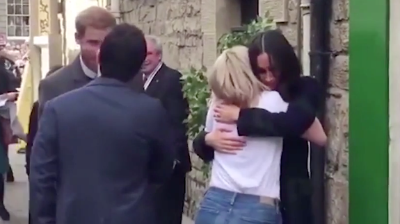 Meghan was seen embracing a charity worker after a sit-down on Tuesday.