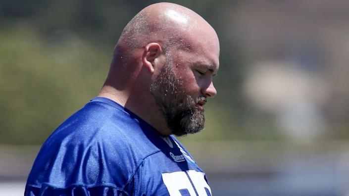 """Rams tackle Andrew Whitworth, shown at an organized team activity in 2017, is going to play until he's 45, according to a teammate. <span class=""""copyright"""">(Luis Sinco / Los Angeles Times)</span>"""
