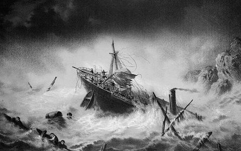 An engraving of The Royal Charter sinking