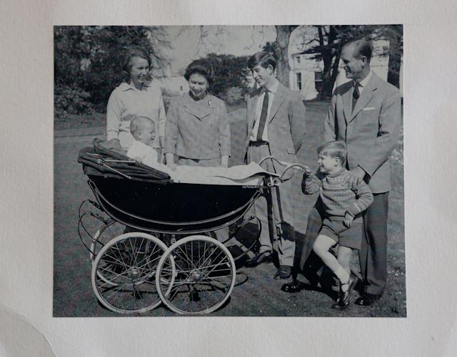 A photograph from a Christmas card dated 1965 showing Queen Elizabeth II and the Duke of Edinburgh alongside their children Princess Anne and Prince Edward (left), Prince Charles (centre) and Prince Andrew (right). [PA]