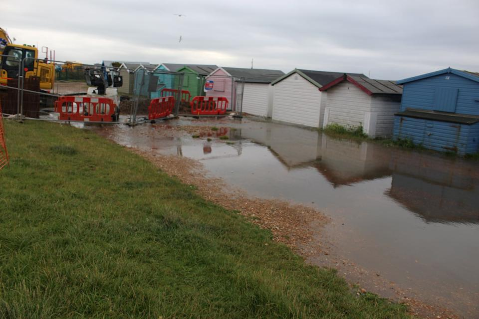 Emergency repair teams from Southern Water have been sent to fix a burst pipe under the cycle path at Bulverhythe beach, East Sussex (swns)