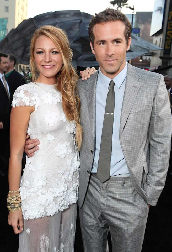 "HOLLYWOOD, CA - JUNE 15:  Blake Lively and Ryan Reynolds at Warner Bros. Premiere of ""Green Lantern"" at Grauman's Chinese Theatre on June 15, 2011 in Hollywood, California.  (Photo by Eric Charbonneau/WireImage)"