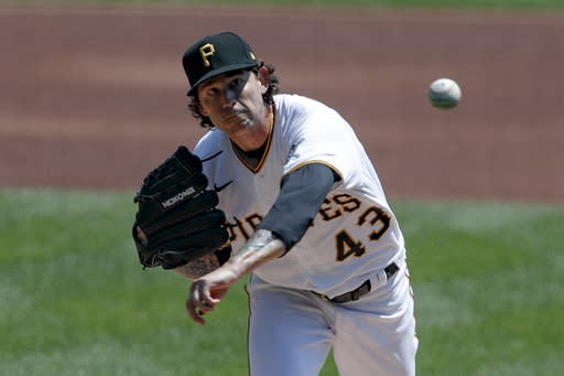 Pittsburgh Pirates starter Steven Brault pitches against the Detroit Tigers in the first inning of a baseball game Sunday, Aug. 9, 2020, in Pittsburgh. (AP Photo/Keith Srakocic)
