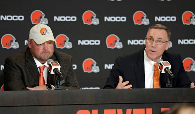 Cleveland Browns general manager John Dorsey (R) has supplied rookie head coach Freddie Kitchens with a star-filled roster. (AP)