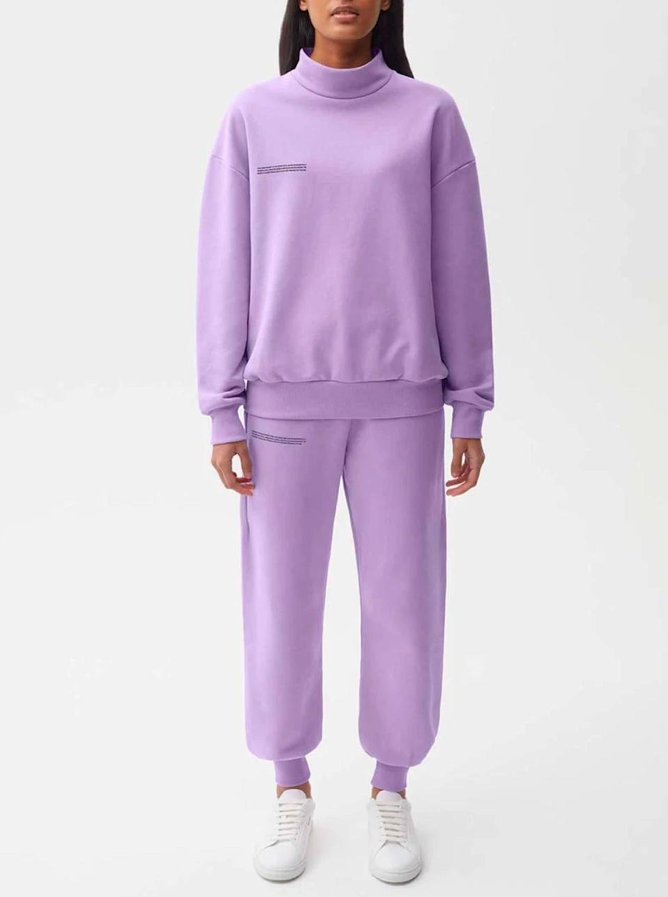 """$120, Pangaia. <a href=""""https://thepangaia.com/products/womens-cuffed-track-pants-orchid-purple"""" rel=""""nofollow noopener"""" target=""""_blank"""" data-ylk=""""slk:Get it now!"""" class=""""link rapid-noclick-resp"""">Get it now!</a>"""