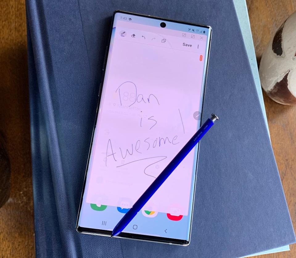 Samsung's Galaxy Note10+ packs the company's fantastic S Pen stylus. (Image: Howley)