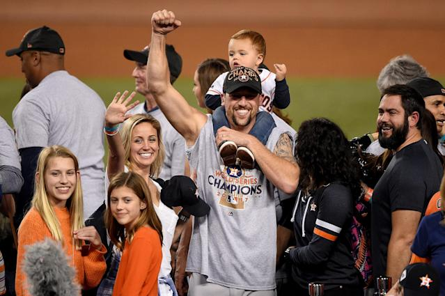 <p>Luke Gregerson #44 of the Houston Astros celebrates defeating the Los Angeles Dodgers 5-1 in game seven to win the 2017 World Series at Dodger Stadium on November 1, 2017 in Los Angeles, California. (Photo by Kevork Djansezian/Getty Images) </p>