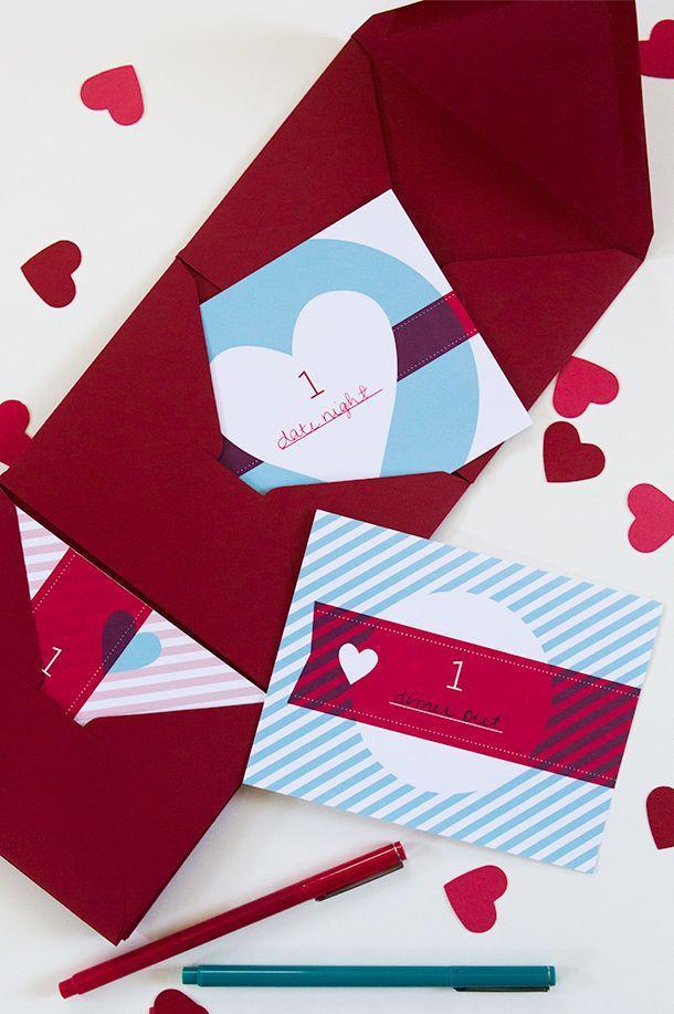 "<p>If you have a sweetheart whose love language is quality time, consider making these DIY date night coupon cards. This project really is the gift that keeps on giving.</p><p><strong>See more at <a href=""https://sarahhearts.com/favorite-valentines/"" rel=""nofollow noopener"" target=""_blank"" data-ylk=""slk:Sarah Hearts"" class=""link rapid-noclick-resp"">Sarah Hearts</a>. </strong></p><p><a class=""link rapid-noclick-resp"" href=""https://go.redirectingat.com?id=74968X1596630&url=https%3A%2F%2Fwww.walmart.com%2Fip%2FTureClos-100m-Roll-2Ply-Cotton-Bakers-Twine-String-DIY-Handmade-Colored-twisted-Cord-Gift-Box-Decoration-Craft-Rope%2F420100388&sref=https%3A%2F%2Fwww.thepioneerwoman.com%2Fhome-lifestyle%2Fcrafts-diy%2Fg35084525%2Fdiy-valentines-day-cards%2F"" rel=""nofollow noopener"" target=""_blank"" data-ylk=""slk:SHOP BAKER'S TWINE"">SHOP BAKER'S TWINE</a></p>"