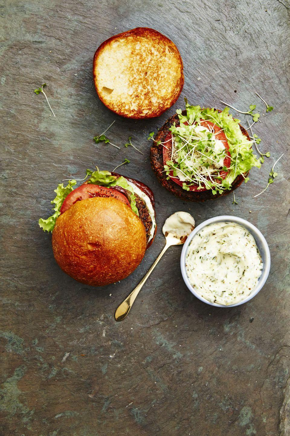 """<p>This is the meatiest non-meat burger you will ever taste in your life, thanks to hearty ingredients like mushrooms, walnuts, and quinoa.</p><p><a href=""""https://www.goodhousekeeping.com/food-recipes/a38846/mushroom-quinoa-burger-recipe/"""" rel=""""nofollow noopener"""" target=""""_blank"""" data-ylk=""""slk:Get the recipe for Mushroom-Quinoa Burger »"""" class=""""link rapid-noclick-resp""""><em><span class=""""redactor-invisible-space"""">Get the recipe for Mushroom-Quinoa Burger »</span> </em></a><br></p>"""
