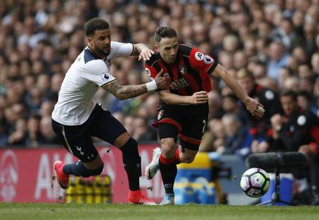 Bournemouth's Marc Pugh in action with Tottenham's Kyle Walker