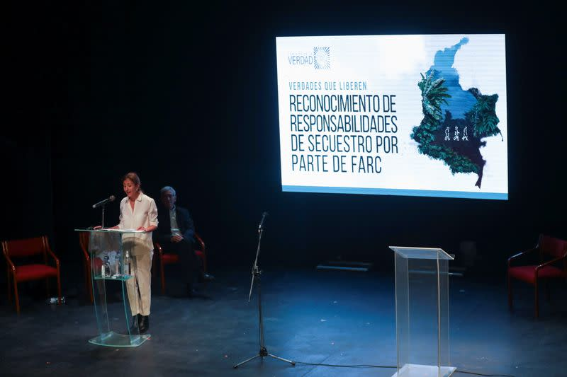 French-Colombian politician Betancourt speaks with former FARC members, Bogota