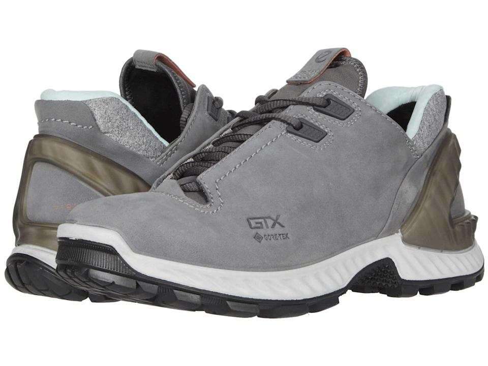"""<h3>Ecco Sport Exohike Low</h3> <br>These low-top hiking boots are completely waterproof, and provide added foot and ankle support that you may not get from a sneaker — which you'll need if you're going on long-distance hikes.<br><br><strong>Ecco Sport</strong> Exohike Low, $, available at <a href=""""https://go.skimresources.com/?id=30283X879131&url=https%3A%2F%2Fwww.zappos.com%2Fp%2Fecco-sport-exohike-low-titanium%2Fproduct%2F9345579%2Fcolor%2F699"""" rel=""""nofollow noopener"""" target=""""_blank"""" data-ylk=""""slk:Zappos"""" class=""""link rapid-noclick-resp"""">Zappos</a><br>"""