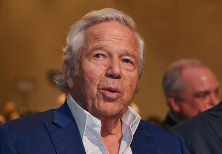 FILE PHOTO: New England Patriots owner Robert Kraft in attendance at a press conference in advance of Super Bowl LIII at Georgia World Congress Center in Atlanta