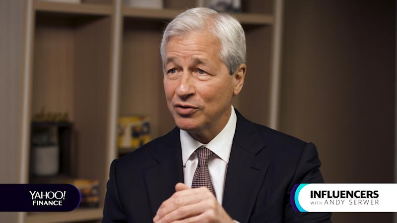 "Jamie Dimon being interviewed for ""Influencers."""