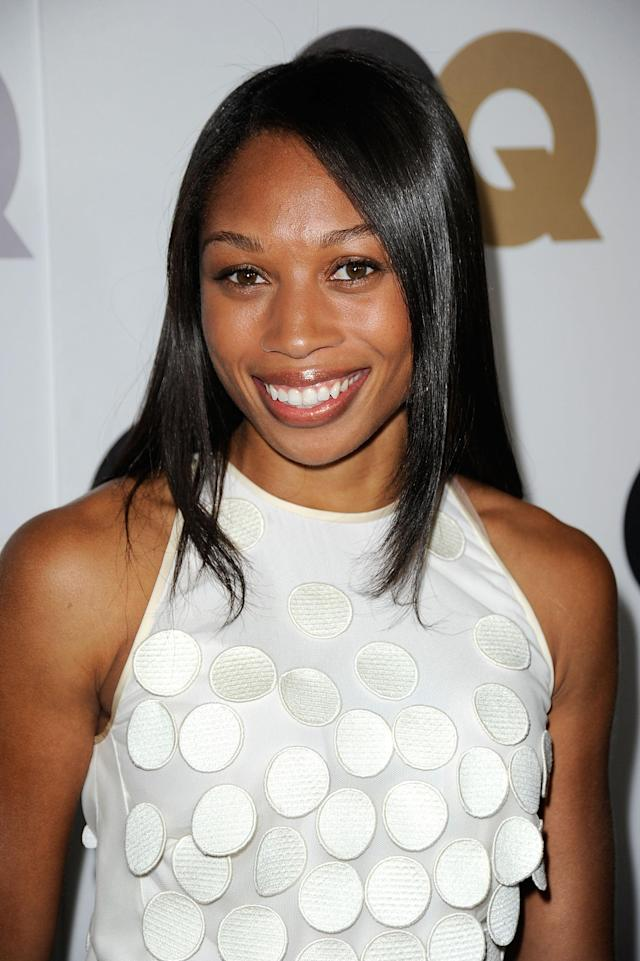 "LOS ANGELES, CA - NOVEMBER 17: Olympic Gold Medalist, Allyson Felix arrives at the 16th Annual GQ ""Men Of The Year"" Party at Chateau Marmont on November 17, 2011 in Los Angeles, California. (Photo by Frazer Harrison/Getty Images)"
