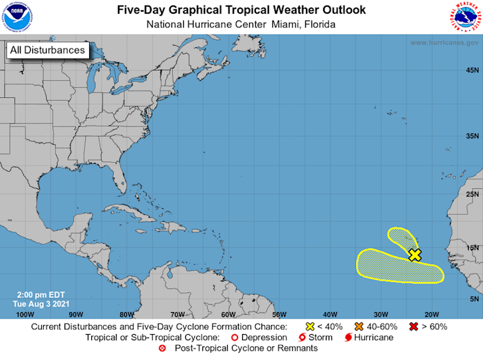 NHC is tracking another disturbance in the far eastern Atlantic, this time a tropical wave expected to roll off Africa's west coast by Thursday.
